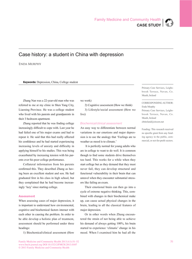 Case history: a student in China with depression | Family