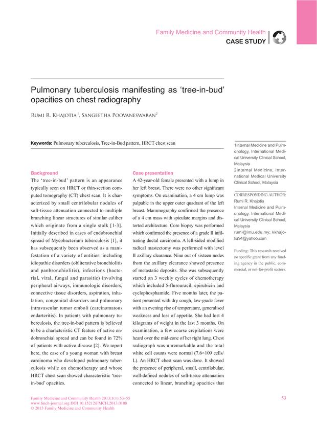 Pulmonary tuberculosis manifesting as 'tree-in-bud' opacities on